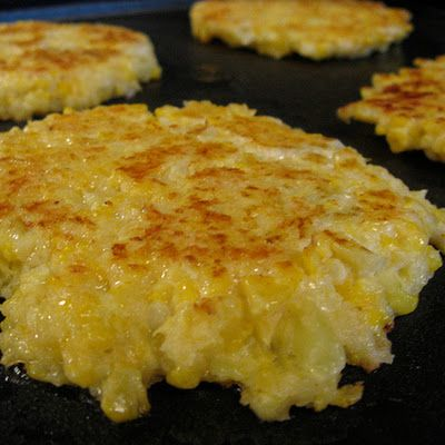 Cheesy Cauliflower Cakes. Just when you though cauliflower couldn't get any better. Sub egg whites for whole eggs to cut cholesterol and saturated fats in this recipe. And obviously use olive oil, not butter.