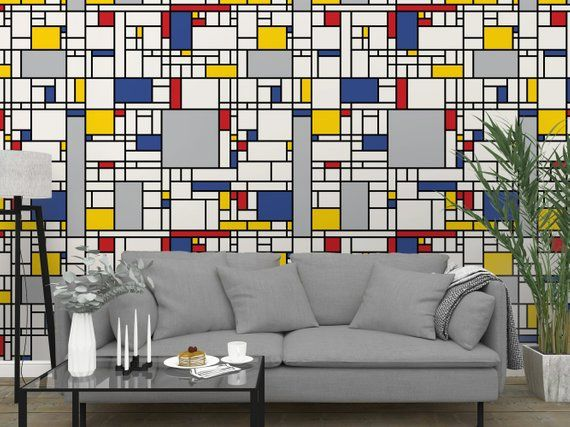 Removable Peel And Stick Wallpaper Abstract Modern Blue Etsy Peel And Stick Wallpaper Stick On Wallpaper Vinyl Wallpaper