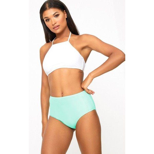 Mix & Match Mint High Waisted Bottoms ($5.27) ❤ liked on Polyvore featuring swimwear, bikinis, bikini bottoms, green, green bikini, high waisted swim wear, mint bikini bottoms, high-waisted bikinis and high rise bikini bottoms
