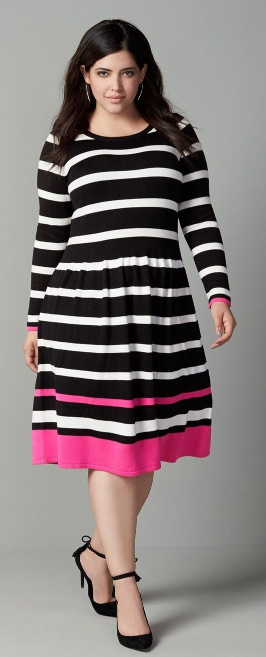Plus Size Stripe A-Line Knit Dress