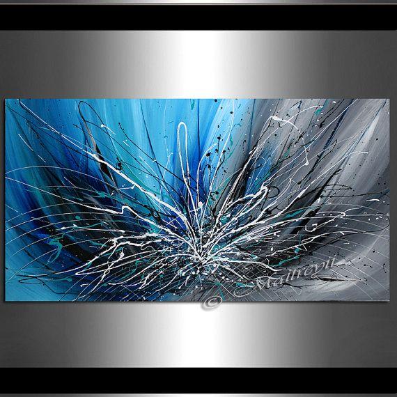 Trouver votre peinture abstraite préférée de beaucoup de conceptions disponibles dans ma boutique. http://www.etsy.com/shop/largeartwork =========================================================  TITRE : Fleur de lhiver (fabriqués sur commande)  Dimensions : 48 « de large, 24 » 1,5 de haut, profond (Galerie Wrap toile tendu prêt à accrocher)  ====================================================  ~ ~ COULEUR : bleu, noir blanc acrylique  ~ ~ MÉDIUM : peinture acrylique de qualité…