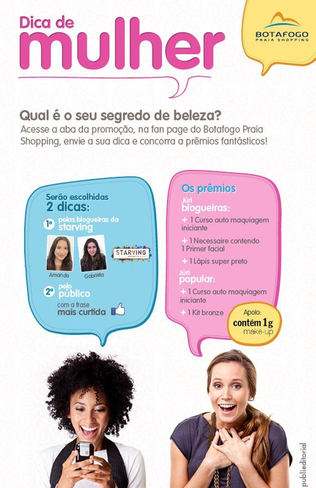 Concurso, dia da mulher, Botafogo Praia Shopping, BPS, Aula de automaquiagem, maquiagem, make, prêmio, dica de mulher, starving, frase