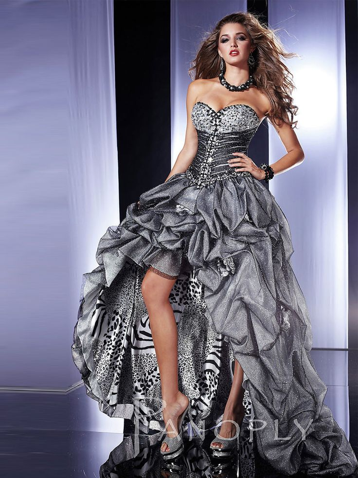 Strapless Silver Tulle and Leopard Print High-Low Prom Dress, black friday big discount price