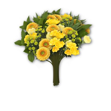 Gerbera Pomponie yellow, Santini's and Freesia's. In our online flowershop bloomy creations.nl