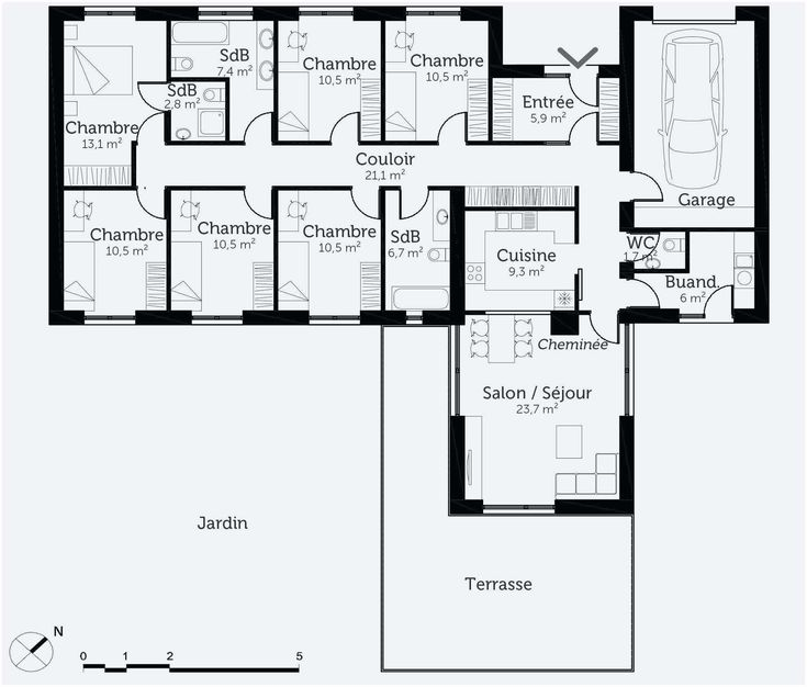 36 Plan Maison Plain Pied 3 Chambres 100m2 | How to plan, Floor plans, Interior design bedroom