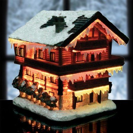 Amazon Com Christmas Snow Village Fiber Optic House Log