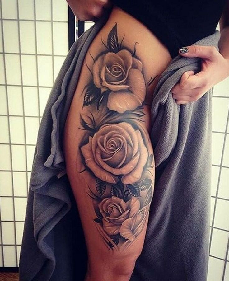 Upper Thigh Roses And Quote Tattoo: Best 20+ Rose Tattoo Thigh Ideas On Pinterest