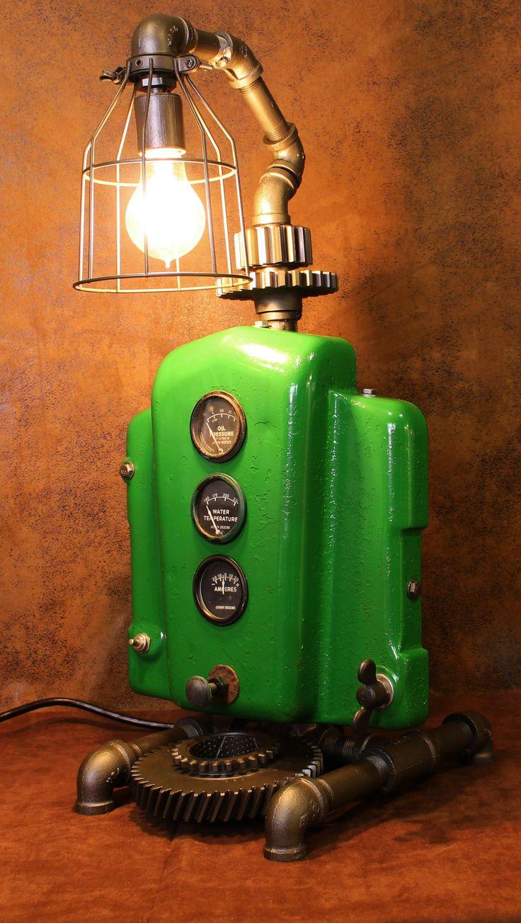 John Deere Light Fixture : Steampunk lamp john deere tractor dash farm cc