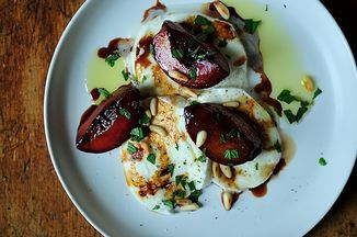 Buffalo Mozzarella with Balsamic Glazed Plums, Pine Nuts and Mint Recipe on Food52