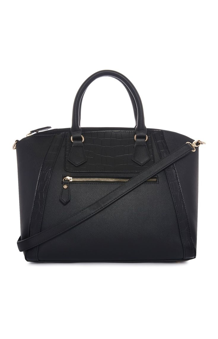 Primark - Black Zip detail Winged Tote Bag