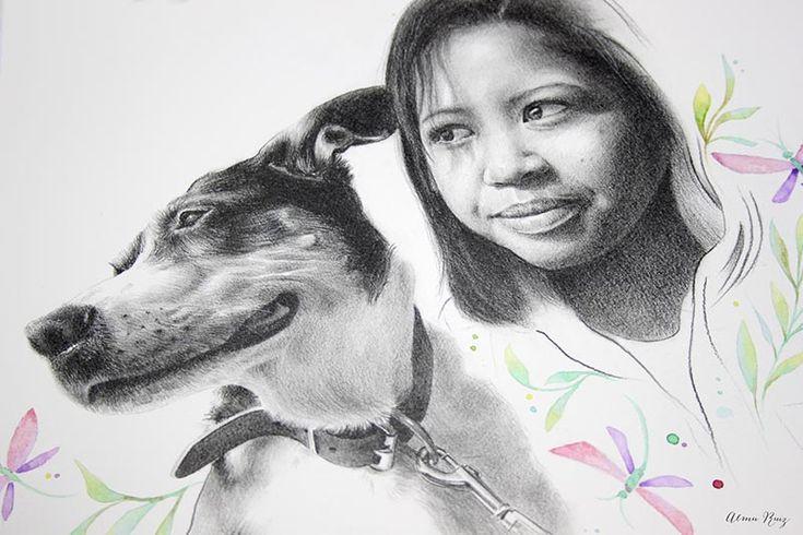 Retrato a lápiz y acuarela de Glady y su mascota. Pet portait. Pencil drawing and watercolor illustration