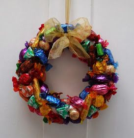 I have another foodie item to show you today...a Quality Street wreath: I made a couple of these last year, and salvaged the polystyren...