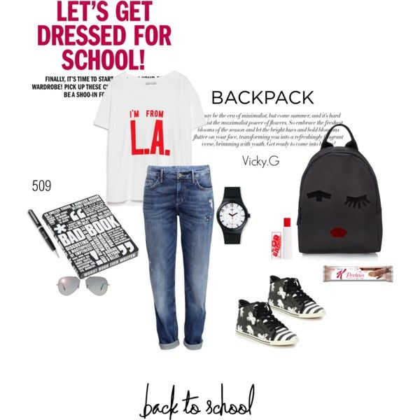 Set # 509 / Back to School: New Backpack by vassiliki-g on Polyvore featuring Zara, H&M, Marc by Marc Jacobs, Lulu Guinness, Swatch, Ray-Ban, Barry M, Nuuna, Harrods and BackToSchool