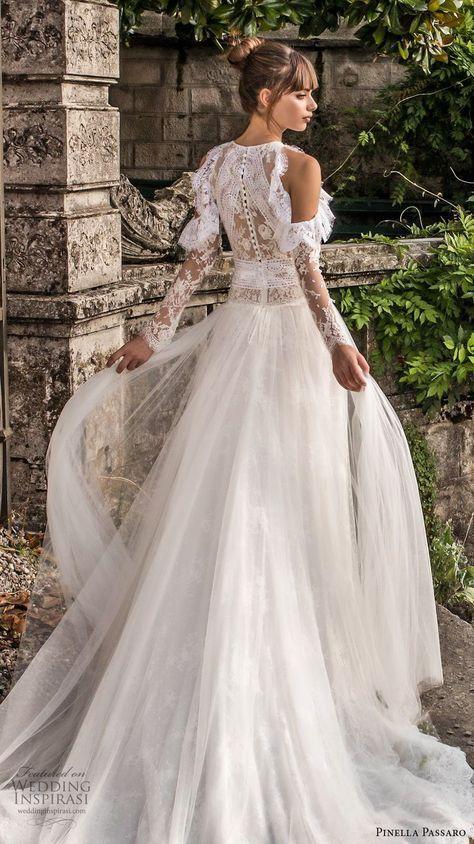 8305dd0e2e0 pinella passaro 2018 bridal cold shoulder long sleeves halter neck jewel  neck heavily embellished bodice elegant romantic a line wedding dress  covered lace ...
