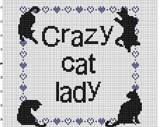 Crazy Cat Lady - Cross Stitch Pattern - Instant Download