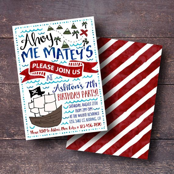Pirate Birthday Invitation Pirate Invitation Pirate Party