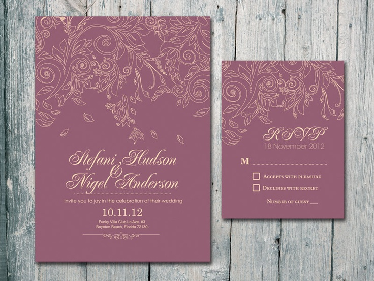 Mauve Flower Blossom  - Wedding Card Set - Wedding Invitation and Reply Card. $1.35, via Etsy.