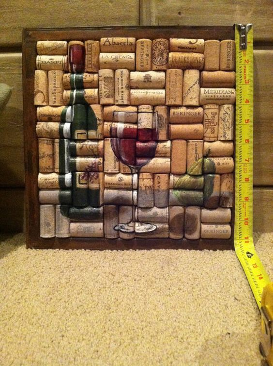 Wine Bottle and Glass Painting on Cork with 1 Pear by WineALotMore: