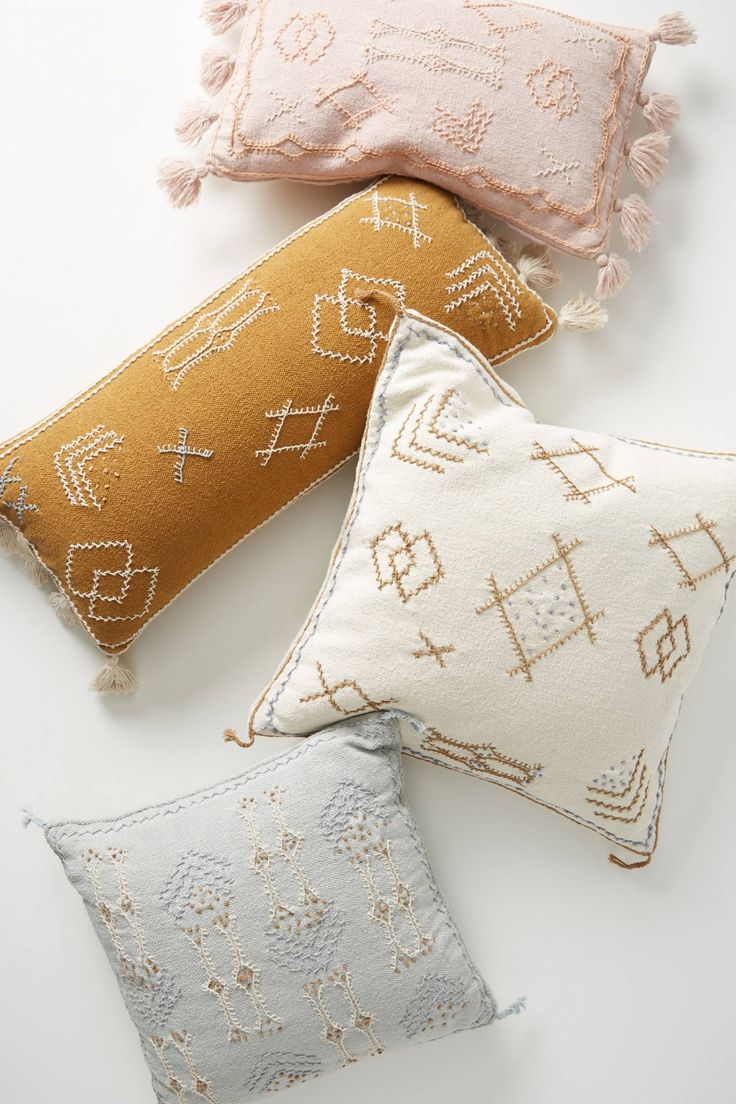 Yellow Pillows by Joanna Gaines for Anthropologie, Anthropologie Embroidered Sadie Pillow