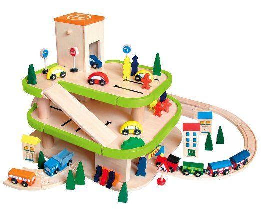 Auto Garage / Parkhaus - mit 3 Ebenen aus Holz - incl. Auto + Figuren - Autos…