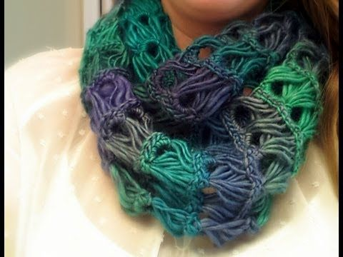 ▶ Broomstick Lace Infinity Scarf Tutorial - YouTube