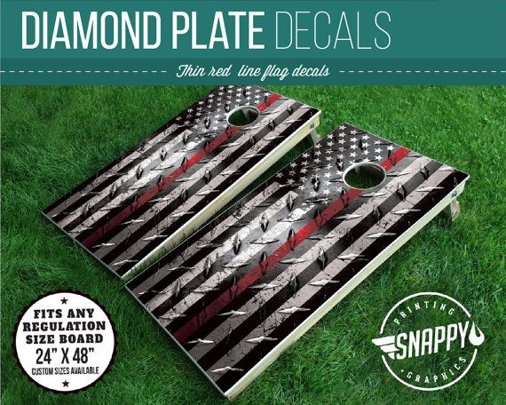 Thin Red Line American Flag Diamond Plate Look Cornhole Decal - Bags - Vinyl Decal Cornhole Wrap - PAIR