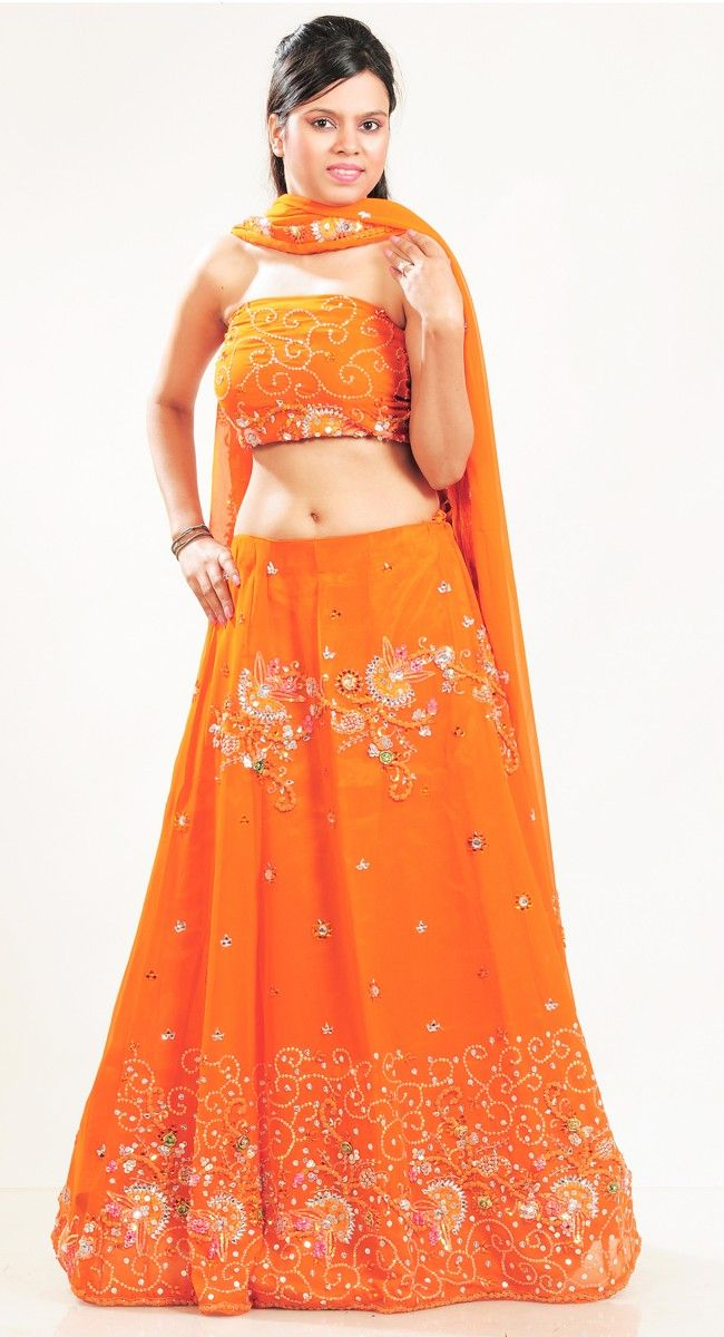 Luscious Orange #Lehenga #Choli and #Navratri #Garba #Dress.