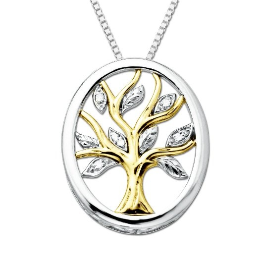 """Amazon.com: XPY Sterling Silver and 14k Yellow Gold Diamond Tree Of Life Pendant Necklace (.04cttw, I-J Color, I2-I3 Clarity), 18"""": Jewelry"""