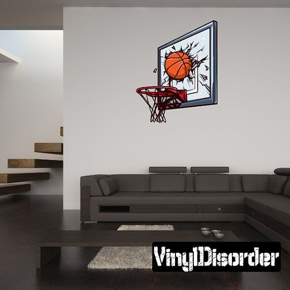 Shattered Backboard Basketball Wall Decal   Wall Fabric   Vinyl Decal    Removable And Reusable