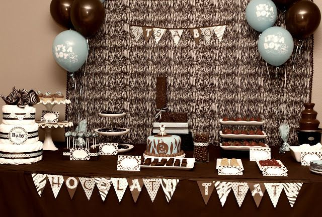 Zebra Baby Boy Shower | Baby blue & chocolate brown zebra themed baby shower for Natasha