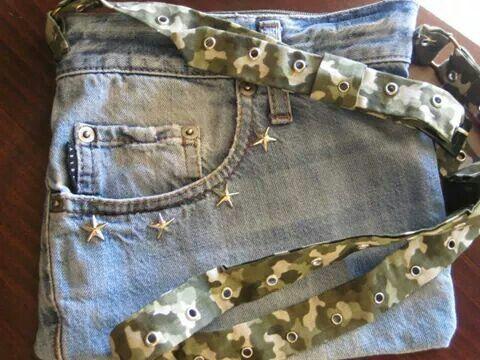 Mini borsa in jeans con tracolla regolabile e fodera interna ...