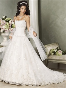 Royal Luxurious A-Line Scoop Dropped Waist Spaghetti Straps Bride Wedding Dresses   $235.00