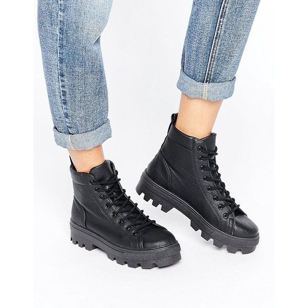 ASOS ABBITH Lace Up Boots ($48) ❤ liked on Polyvore featuring shoes, boots, black, asos boots, lace-up boots, chunky black boots, laced boots and chunky-heel boots