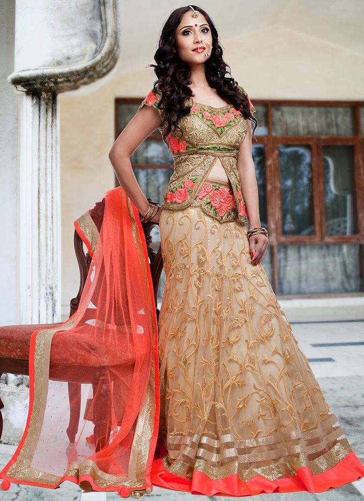 9 best images about lehenga blouse designs on pinterest for Long sleeve indian wedding dresses