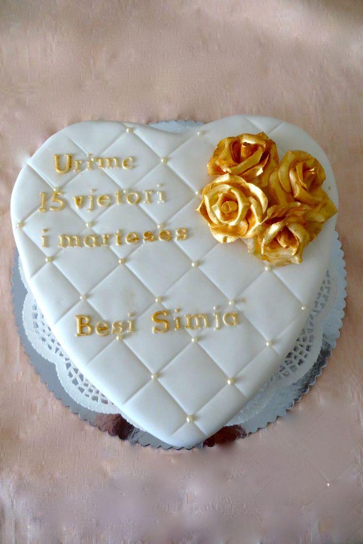 Jubileum taart 'gouden rozen'