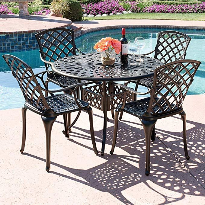 Cast Aluminum Patio Furniture, Outdoor Patio Table And Chairs With Umbrella Hole