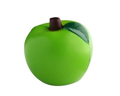 STRESS APPLE GREEN – S48B  Price includes 1 color, 1 position print   2 Color imprint available for an additional charge  Decoration option: Pad print  Print Size : 30mm (D)  Product Size: 70mm (D)