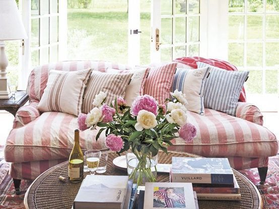 Cottage Style Overstuffed Sofa Striped Slipcovers What