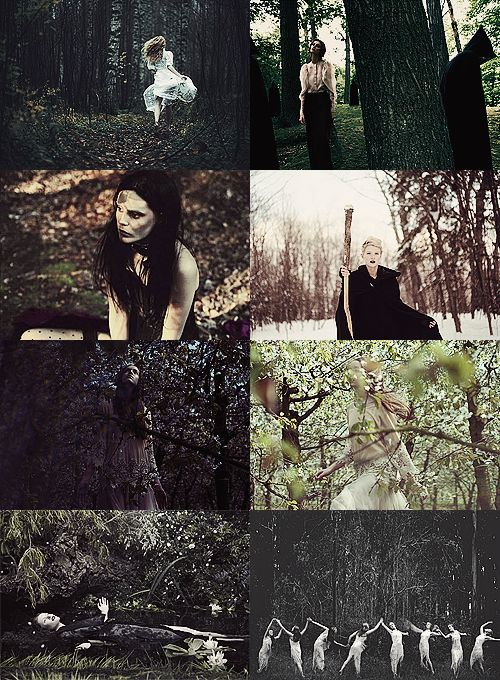 Forest Witches: you just might catch a glimpse of one running through the woods! with reckless abandon, they breathe life into the trees and don't mind when mulch and dirt ruin the hems of their skirts. they are as temperamental as thunder and can twist vines and branches around your limbs in an instant. #witchcraft