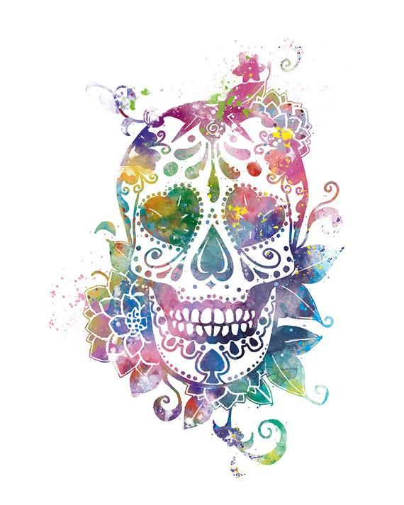 680354a9d Sugar Skull, Art Print, Day of the Dead, Watercolor, Skull, Candy ...