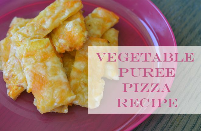 Recipe: Vegetable puree pizza. Great for using up leftover purees and kids love them!