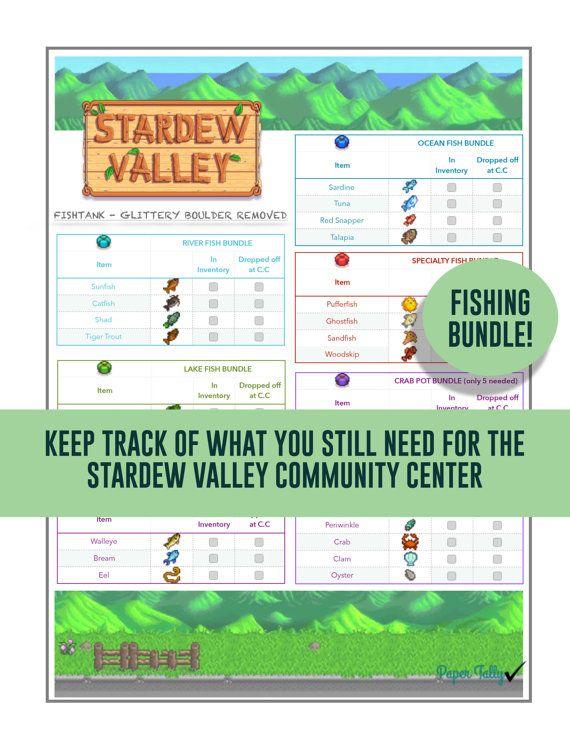 Stardew Valley checklistFishing bundle community by PaperTally
