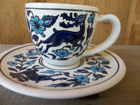 Blue and white hand made in Greece vintage teacup