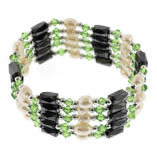 Magnetic Wrap Necklace/Bracelet - Green with Freshwater Pearls - 36 Inch in Length Bracelets - Magnetic Wraps. $8.95. Green with Fresh WaterPearls. Length - 36 inches. Necklace. Magnetic Wrap