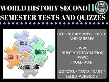 World History Tests Second Semester BOOK:  Prentice Hall World History The Modern World THE SECOND SEMESTER OF WORLD HISTORY THE WHOLE YEAR OF WORLD HISTORY  Here is what is included:  - WWI/Russian Revolution Test / Quizzes- Totalitarian Test - WWII Test - Cold War Test / Quizzes - Paragraph Ideas for writing prompts- World History pacing Guide - 3 Essays for each unit - Final / review sheet / key *************************************************************************** - 1.
