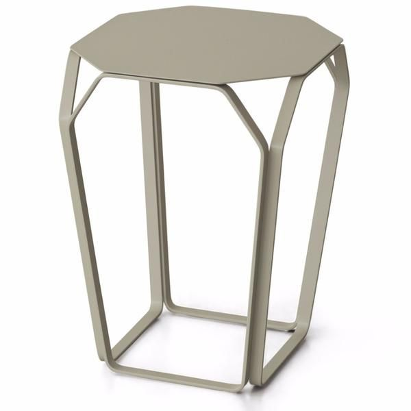 The contemporary Tray 1 side table by Italy's MEMEDesign is shaped like a multi-faceted gemstone. Available in a wide range of colours, the ultra-slim metal forms a frame upon which sits an ultra-fine, 2mm thick tabletop, available in 15 colours.