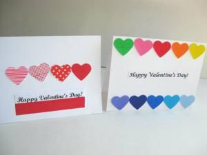 7 Pretty and Easy Homemade Valentine Cards: Colorful Hearts Valentine Cards for Kids