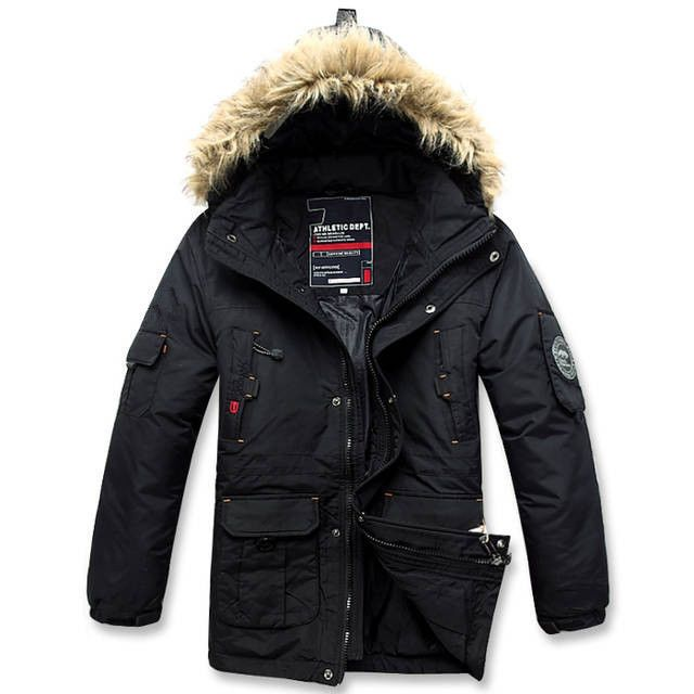 New Men's Parka 90 Duck Down Hooded Jacket Warm Winter Coat Black Outwears Sz | eBay