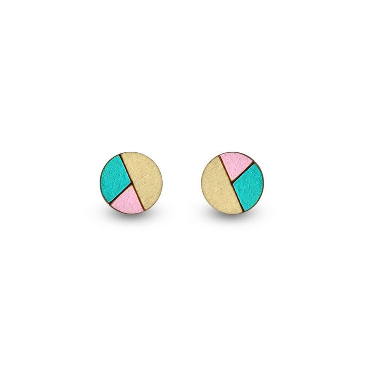 Amindy - Hand painted Circle Sliced Earrings - Baby Pink & Aqua - $22 - Shop online at www.amindy.com.au