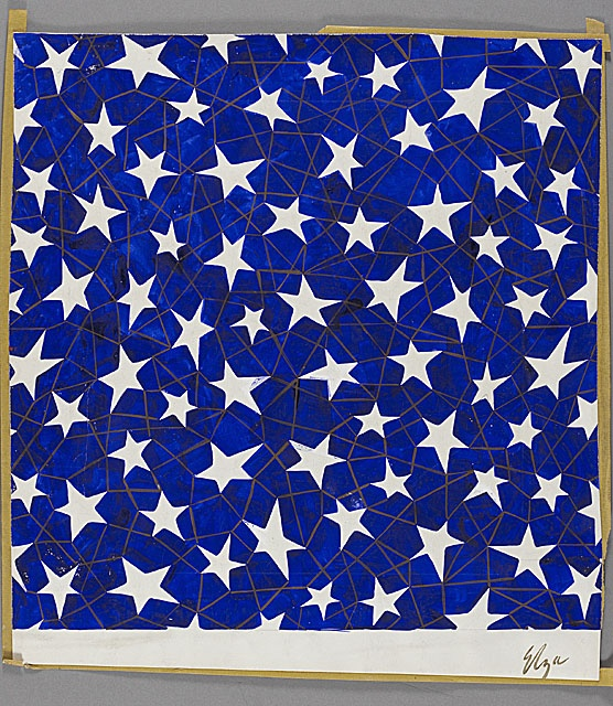 Elza Sunderland (Hungary, 1903 - 1991-06-22)   Textile Design of Five-Point Stars, circa 1944  Costume/textile works on paper, Gouache on paper, Composition: 17 x 16 3/4 in. (43.2 x 42.5 cm); Sheet: 18 x 16 3/4 in. (45.7 x 42.5 cm)  Elza Sunderland Textile Design Collections (M.85.175.552)  Costume and Textiles Department.